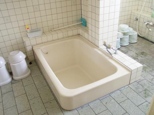 浴室の様子。浴槽が真ん中にあります